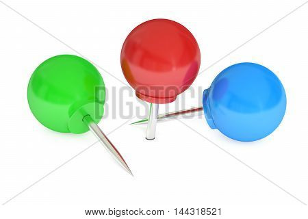 round push pins 3D rendering isolated on white background