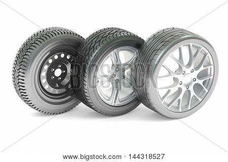 Set of car wheels 3D rendering isolated on white background