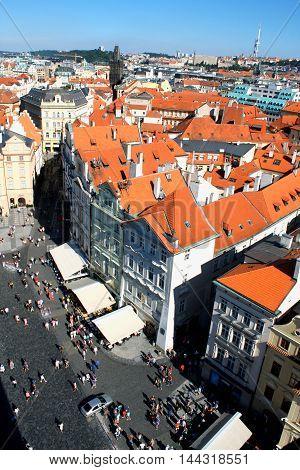 Aerial view of Prague center in Czech Republic.