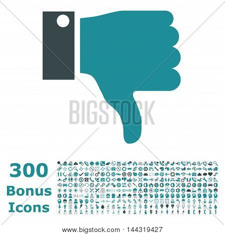 Thumb Down icon with 300 bonus icons. Vector illustration style is flat iconic bicolor symbols, soft blue colors, white background.