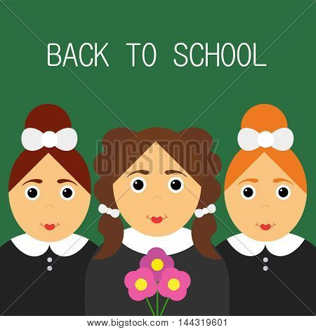 Schoolgirls happy. Back to school. Funny cartoon character. Vector illustration of a flat design.