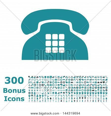 Tone Phone icon with 300 bonus icons. Vector illustration style is flat iconic bicolor symbols, soft blue colors, white background.