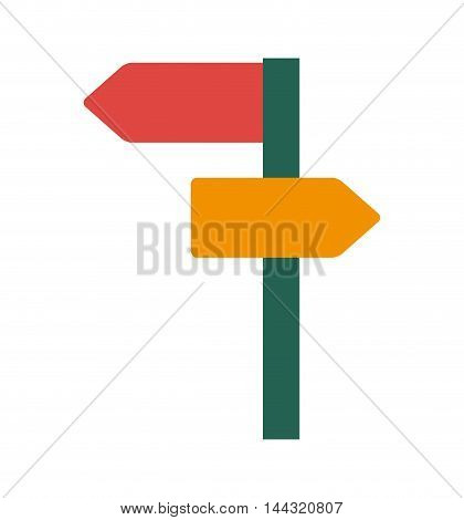 road sign arrow street information way  icon. Flat and isolated design. Vector illustration