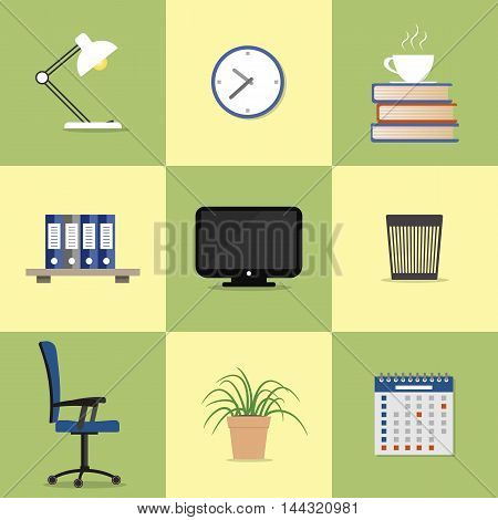 Set of nine icons of office elements. There is the monitor, lamp, chair, clock, a calendar, a flower in a pot, folders, books, a cup of coffee and a recycle bin in the picture. Flat vector design