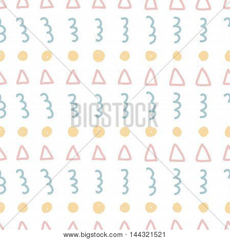 Handmade Childish Doodle Abstract Seamless Abstract Pattern Background.