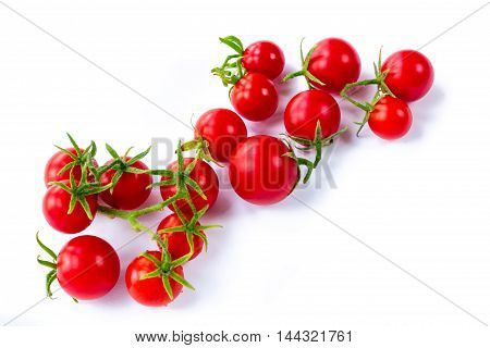 Bunch of tomatoes on white background isolated