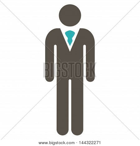 Guy icon. Glyph style is bicolor flat iconic symbol with rounded angles, grey and cyan colors, white background.