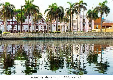 Colonial buildings reflected in the bay in Cartagena Colombia