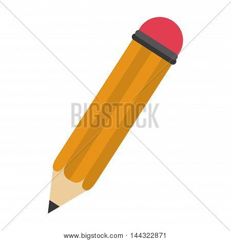 pencil write instrument tool wood icon. Flat and isolated design. Vector illustration