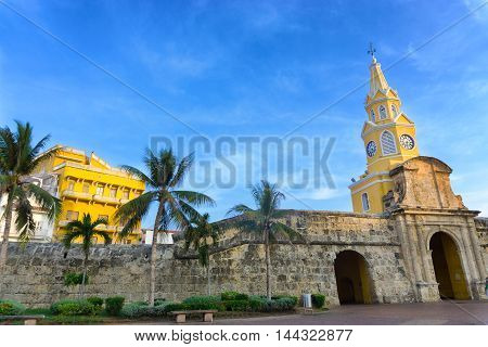 View of the clock tower gate in the walled old city in Cartagena Colombia