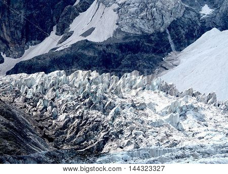 Glacier Cascade And Seracs In Caucasian Mountains
