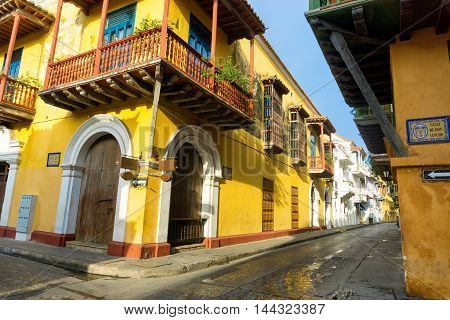 View of stunning colonial architecture in the historic center of Cartagena Colombia