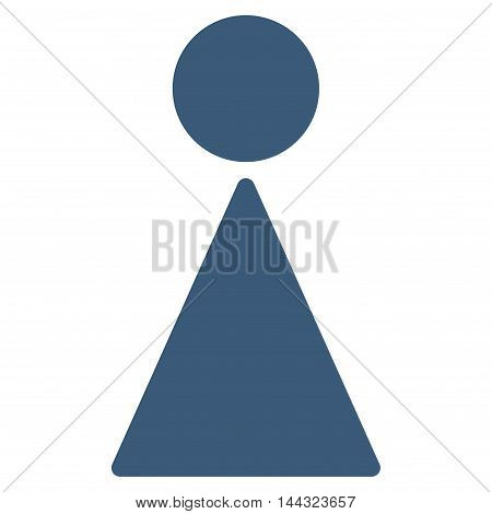 Woman icon. Glyph style is flat iconic symbol with rounded angles, blue color, white background.