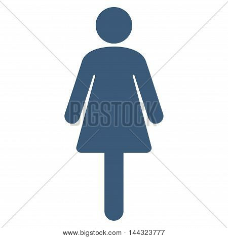 Lady icon. Glyph style is flat iconic symbol with rounded angles, blue color, white background.