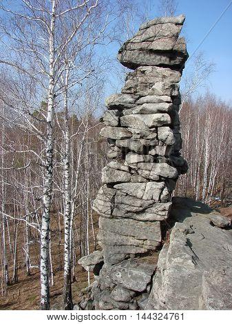 Seven Brothers - buttes. Mountain Semibratskaya. Sverdlovsk region. Russia.