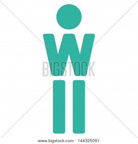 Female icon. Glyph style is flat iconic symbol with rounded angles, cyan color, white background.