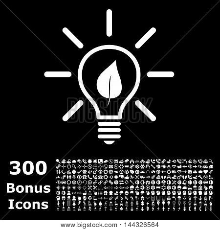 Eco Light Bulb icon with 300 bonus icons. Vector illustration style is flat iconic symbols, white color, black background.