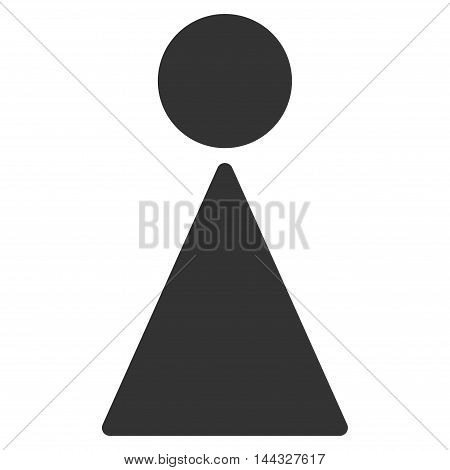 Girl icon. Glyph style is flat iconic symbol with rounded angles, gray color, white background.