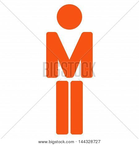 Guy icon. Glyph style is flat iconic symbol with rounded angles, orange color, white background.