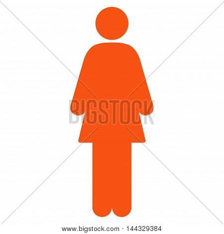 Female icon. Glyph style is flat iconic symbol with rounded angles, orange color, white background.