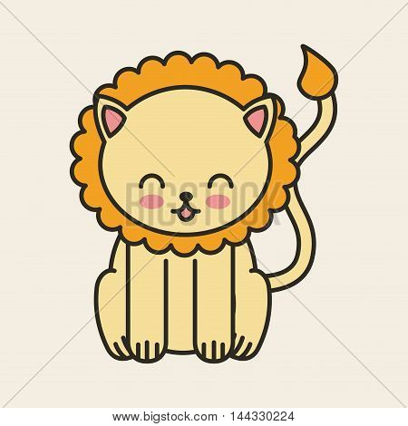 cute lion tender isolated icon vector illustration design