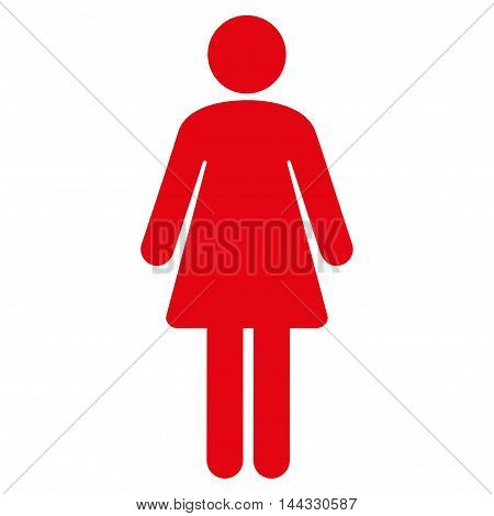 Female icon. Glyph style is flat iconic symbol with rounded angles, red color, white background.