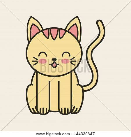 cute cat tender isolated icon vector illustration design