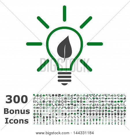 Eco Light Bulb icon with 300 bonus icons. Vector illustration style is flat iconic bicolor symbols, green and gray colors, white background.