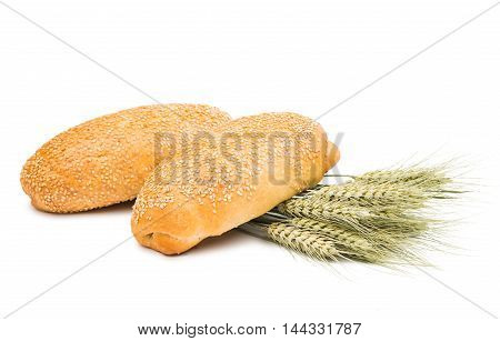 Tasty fresh bun with sesame seeds isolated on white background