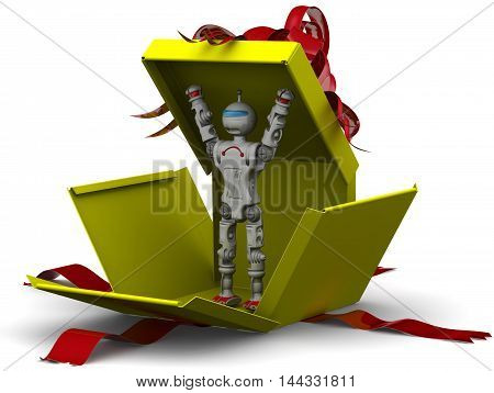 Robot as a gift. Humanoid robot breaks yellow gift box. Isolated. 3D Illustration