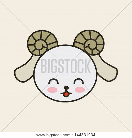cute goat tender isolated icon vector illustration design