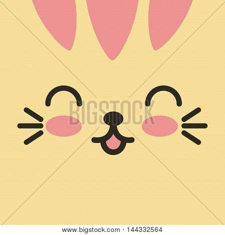 face expression kawaii isolated vector illustration design