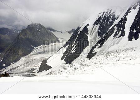 Mensu Glacier in Altai Mountains, Russian Federation
