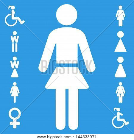Lady icon. Glyph style is flat iconic symbol, white color, blue background.
