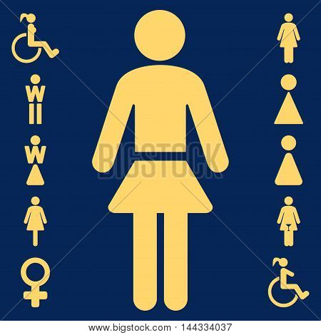Lady icon. Glyph style is flat iconic symbol, yellow color, blue background.