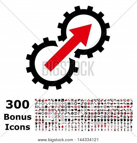 Gear Integration icon with 300 bonus icons. Vector illustration style is flat iconic bicolor symbols, intensive red and black colors, white background.