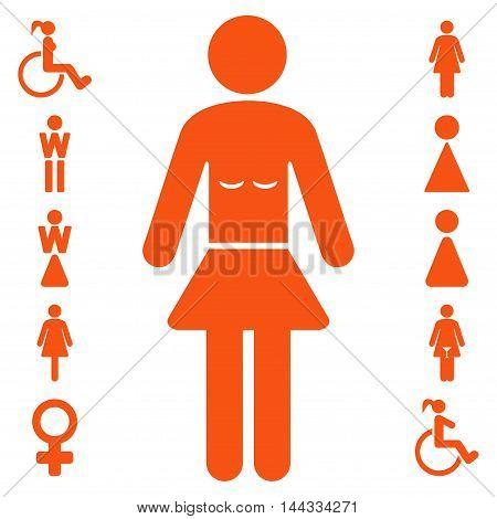 Lady icon. Glyph style is flat iconic symbol, orange color, white background.