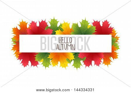 Banner advertising and autumn colored leaves vector