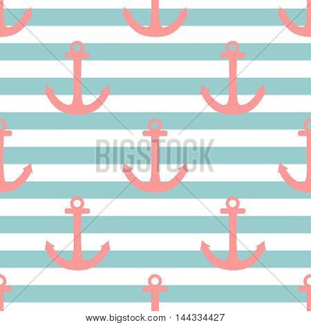 Tile sailor vector pattern with pastel pink anchor on mint blue stripes background