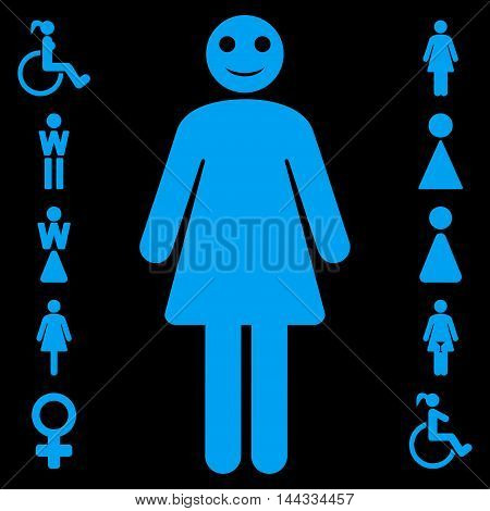 Lady icon. Vector style is flat iconic symbol, blue color, black background.