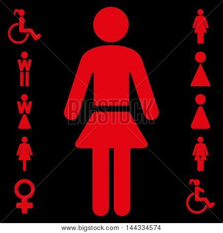 Lady icon. Vector style is flat iconic symbol, red color, black background.