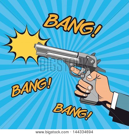 gun revolver hand bang bubble pop art comic cartoon icon. Colorful design striped background. Vector illustration