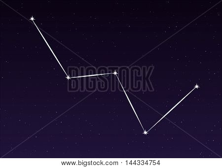 cassiopeia constellation sky illustration on night background
