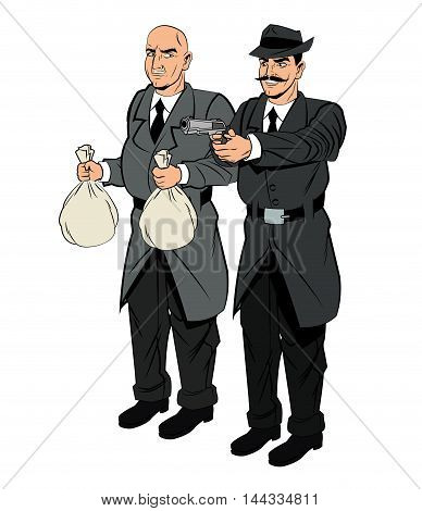 Detective police thief man money bag gun revolver pop art comic cartoon icon. Colorful and isolated design. Vector illustration