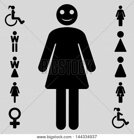 Lady icon. Vector style is flat iconic symbol, black color, light gray background.