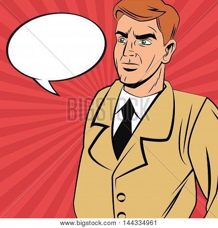 Detective police man bubble pop art comic cartoon icon. Colorful design. Vector illustration