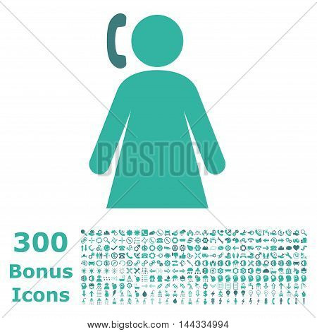 Calling Woman icon with 300 bonus icons. Vector illustration style is flat iconic bicolor symbols, cobalt and cyan colors, white background.