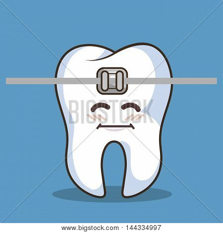 human tooth character with braces icon vector illustration graphic