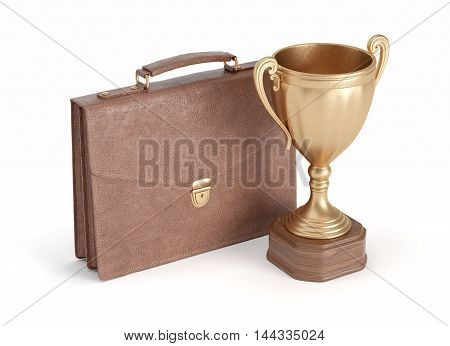 briefcase and gold cup winner on white isolated background, 3D rendering