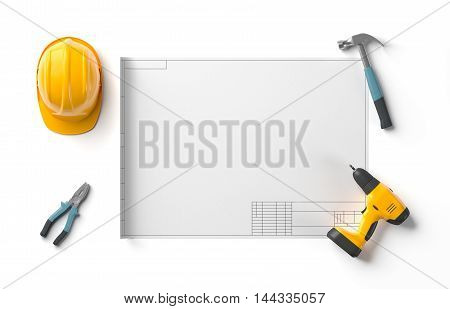 draft project, helmet and construction tools on white isolated background, top view, 3D rendering